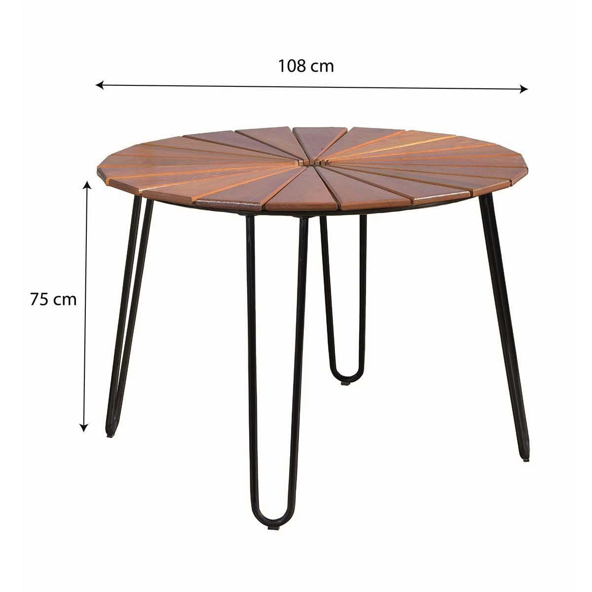 Conjunto Mesa com 4 Cadeiras em Alumínio e Madeira (com ombrelone verde)