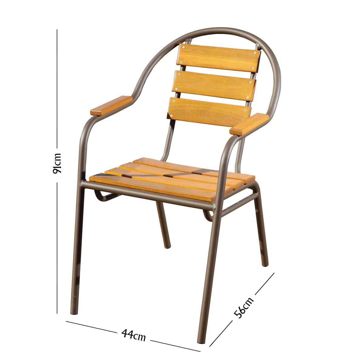 Conjunto Mesa com 4 Cadeiras em Alumínio e Madeira (com ombrelone) - CJMC108-OMB-COPA
