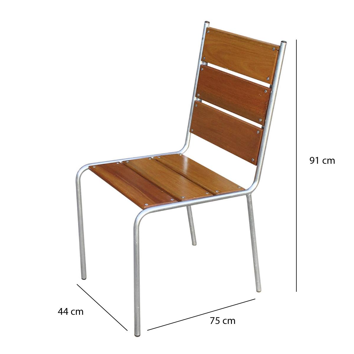 Mesa com 4 Cadeiras em Aço e Madeira - CJM74.P