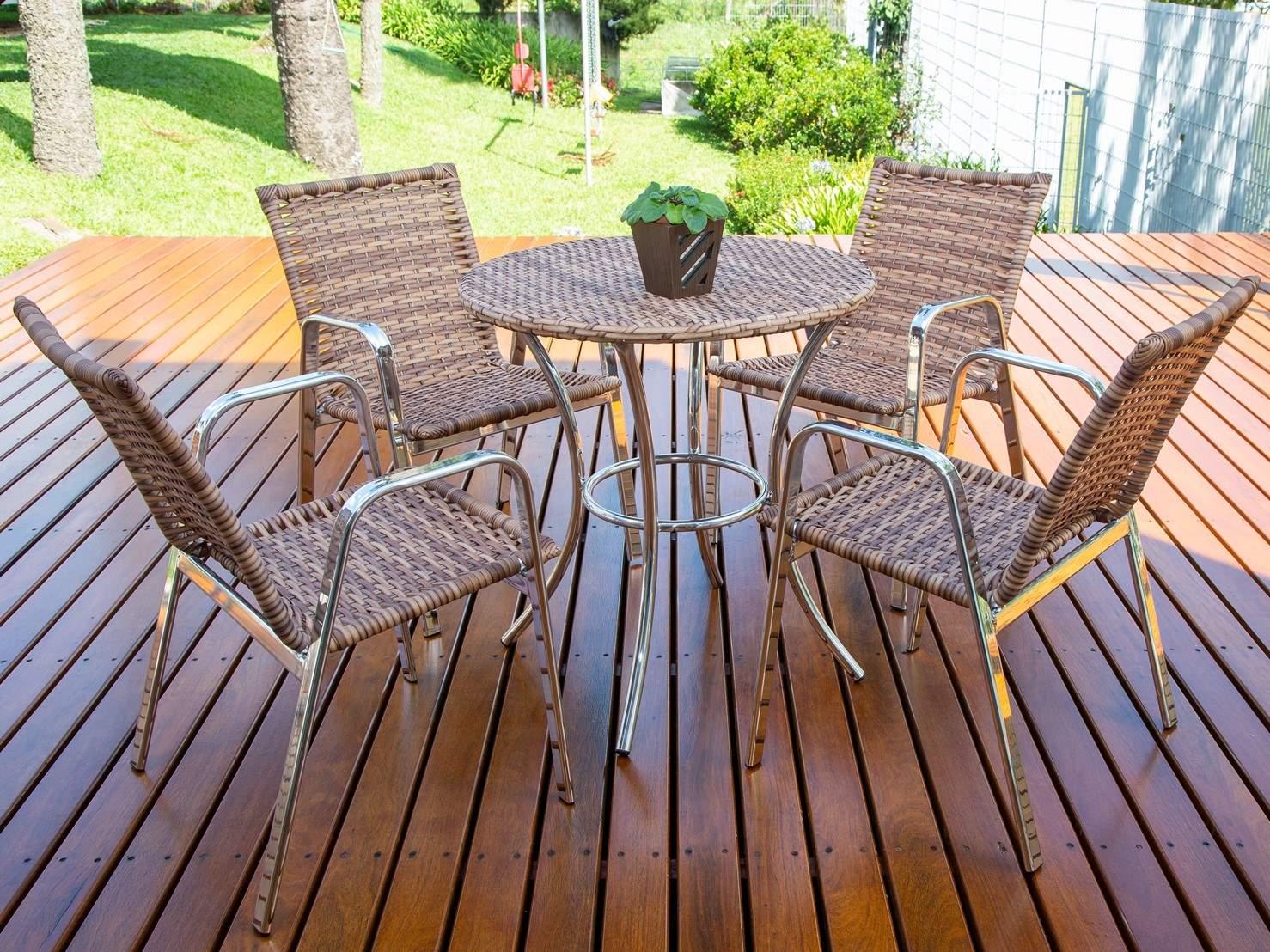 Conjunto Mesa e 04 Cadeiras em Alumínio e Fibra Sintética - MR103(4CR06)