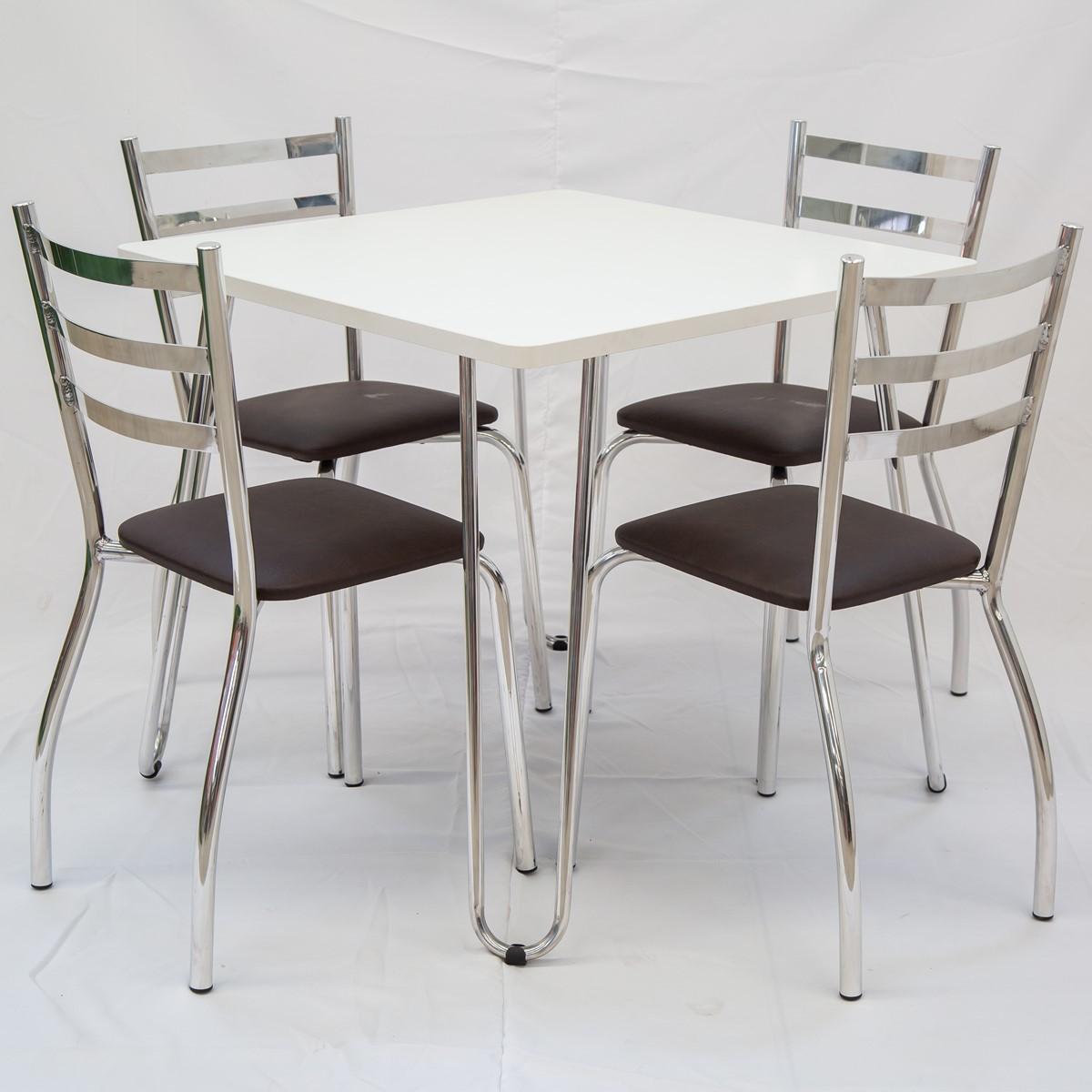 Conjunto Mesa e 04 Cadeiras Estofadas em Alumínio e BP | CJMBP80
