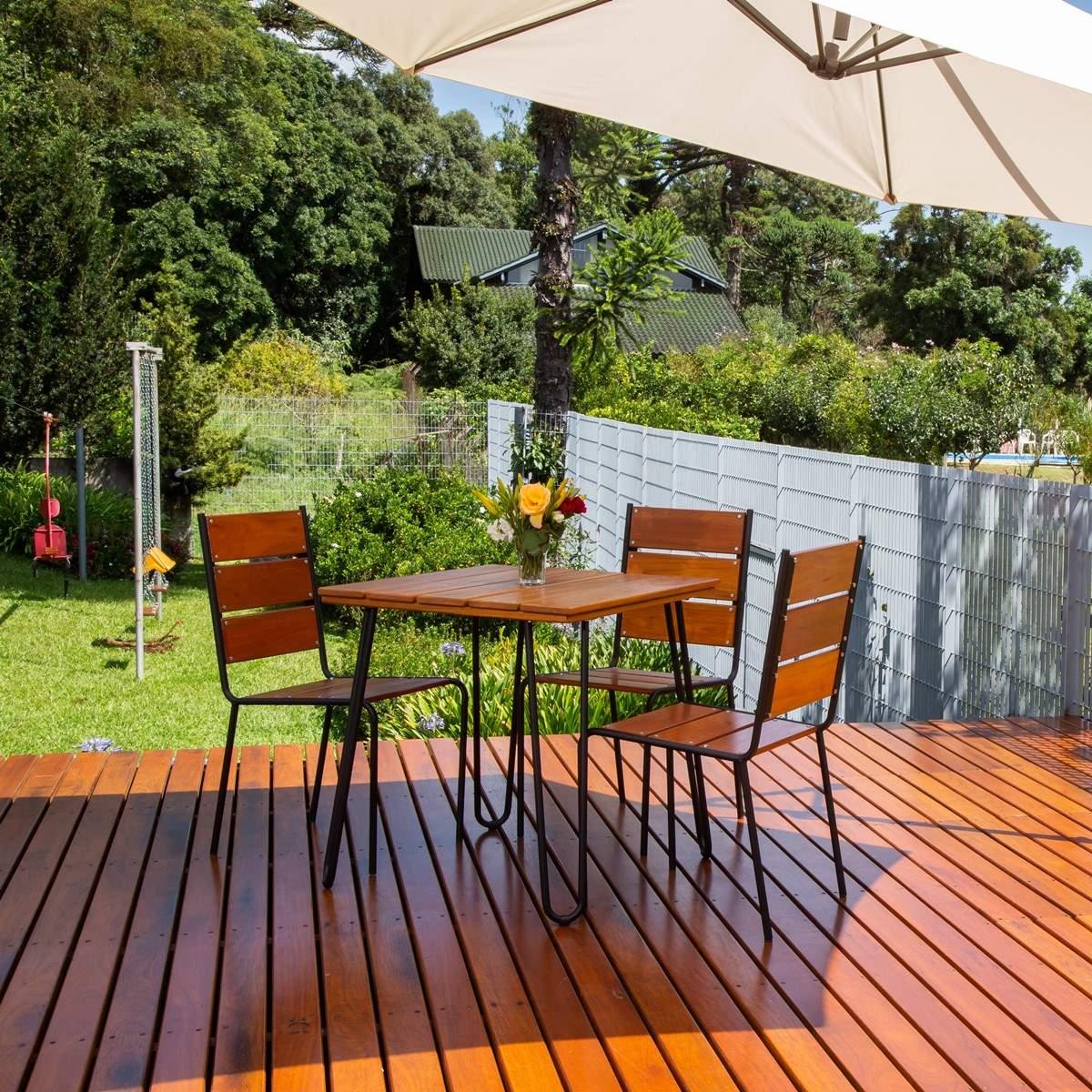 Conjunto Mesa e 04 Cadeiras em Aço e Madeira - CJM74P (Sem Ombrelone)