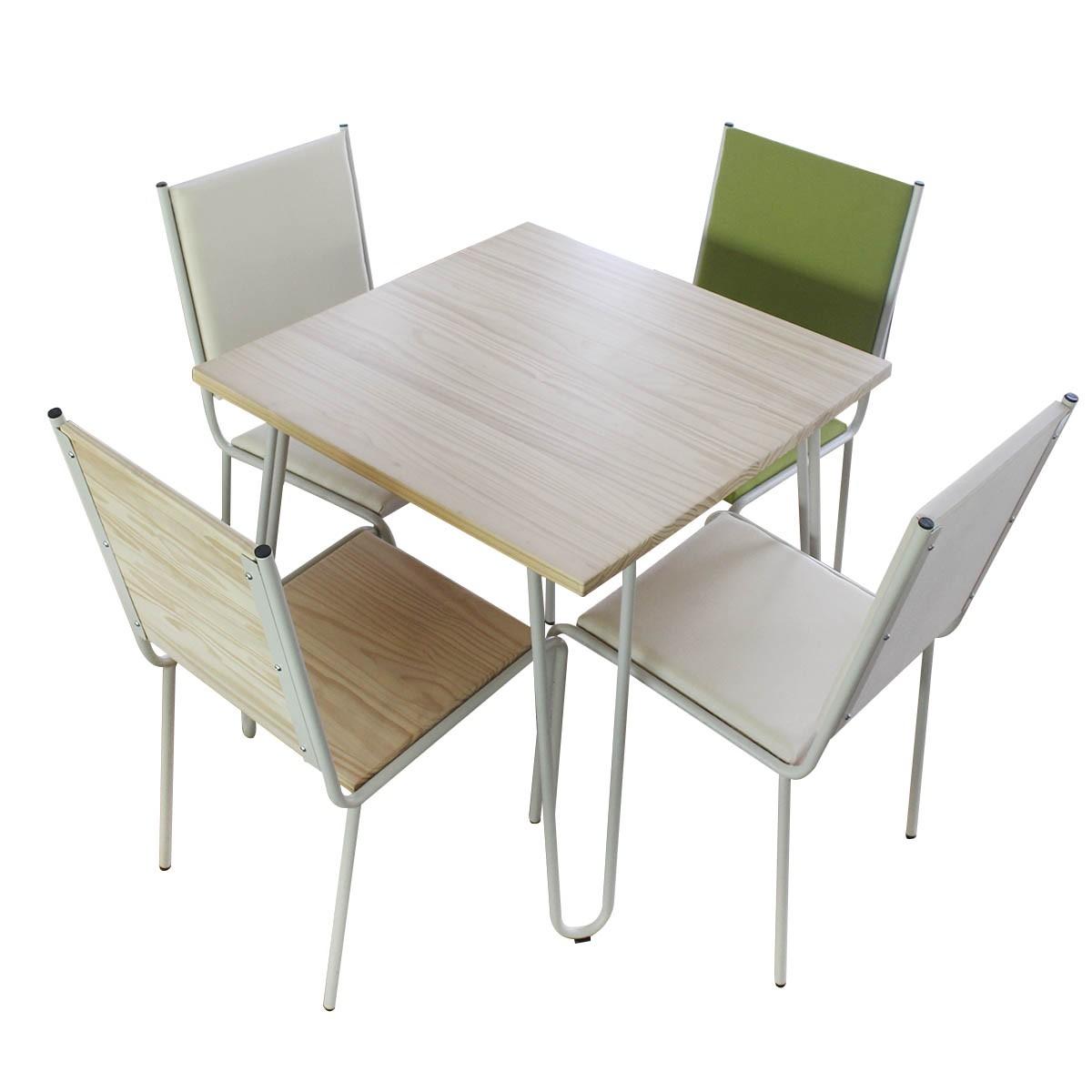 Conjunto Mesa e 04 Cadeiras em Pinus CJP80