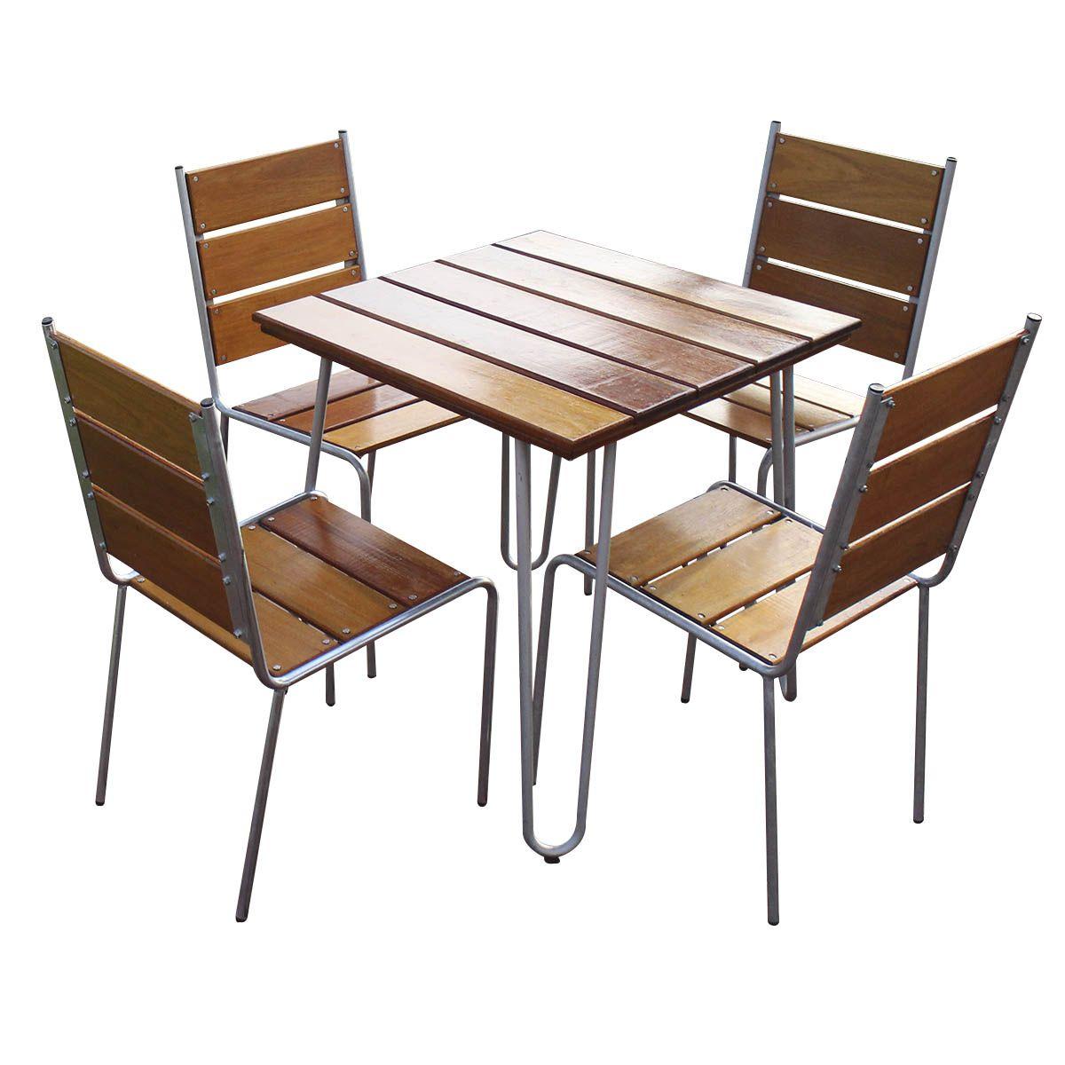 Conjunto Mesa e Cadeiras Eucalipto CJM74