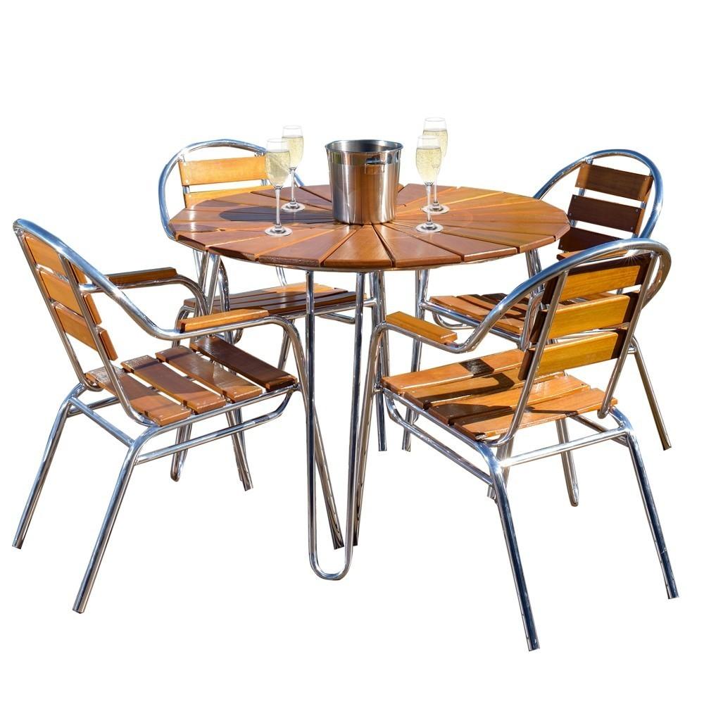 Conjunto Mesa e 04 Cadeiras em Alumínio e Madeira CJMA108