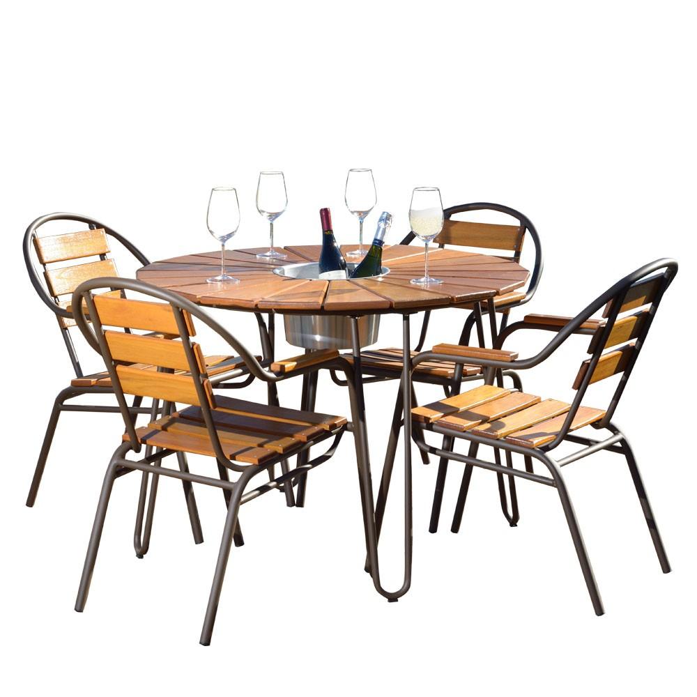Conjunto Mesa e 04 Cadeiras em Alumínio e Madeira - CJMC108