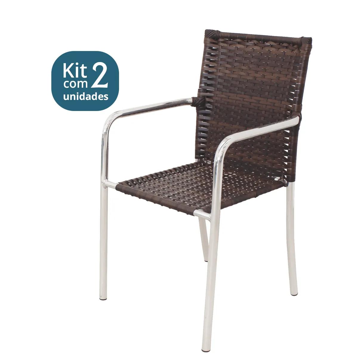Kit 01 Mesa + 02 Cadeiras em Alumínio e Fibra Sintética