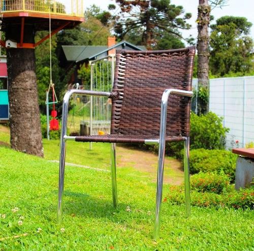 Kit 01 Mesa com 04 Cadeiras - Alumínio com Fibra Sintética - CBRC103(4)