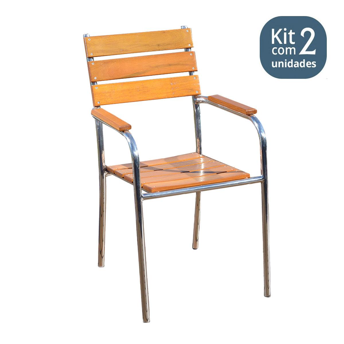 KIt 02 Cadeiras / Poltronas em Madeira e Alumínio Reta CMAR44