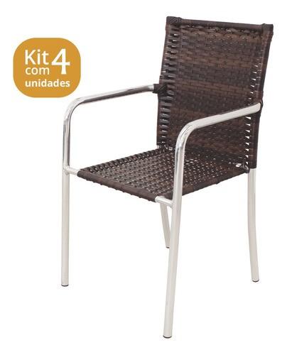 Kit 04 Cadeiras em Alumínio e Fibra Sintética 10mm (CR03)