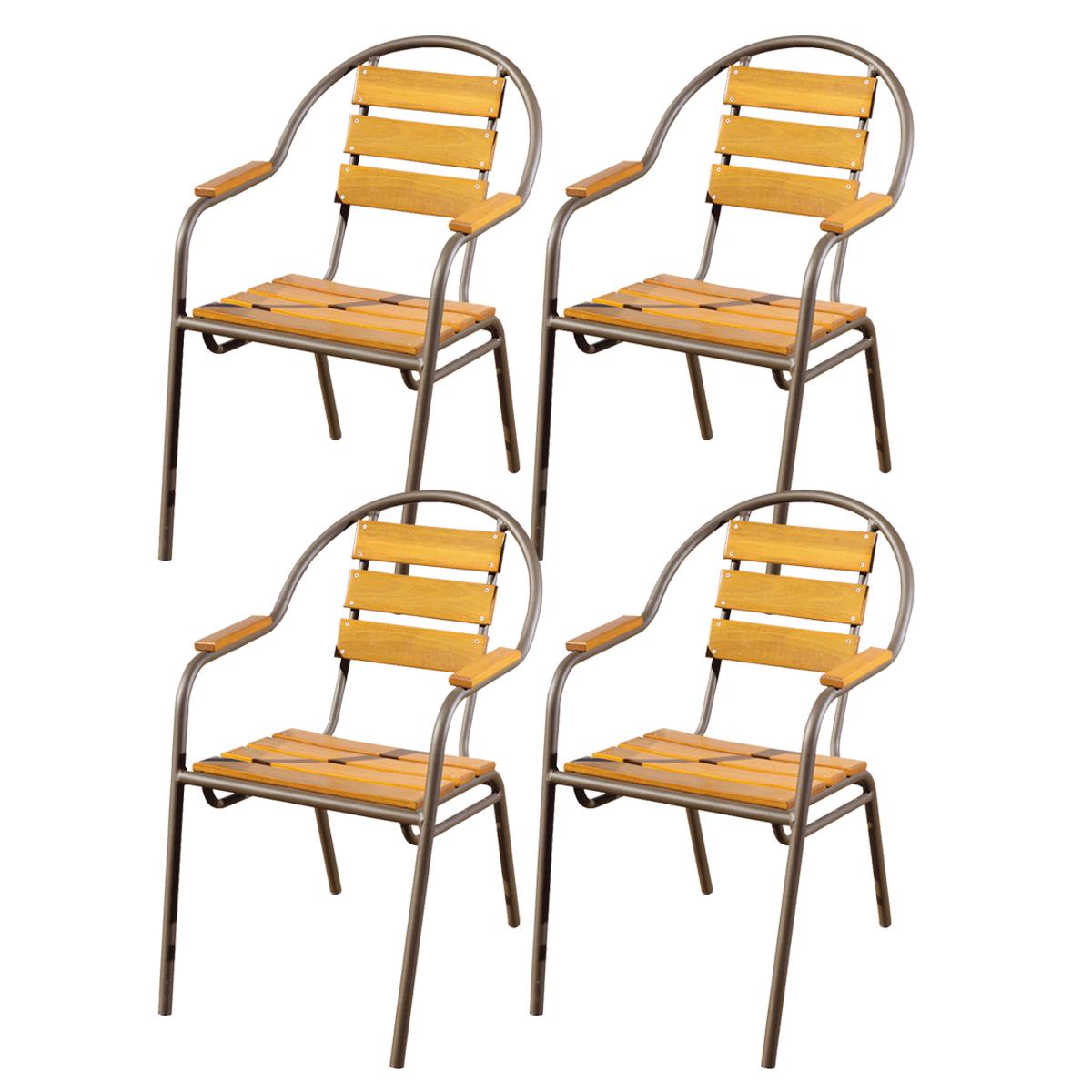 Kit 04 Cadeiras/Poltronas em Madeira e Alumínio Pintado em Marrom CMAC44.M