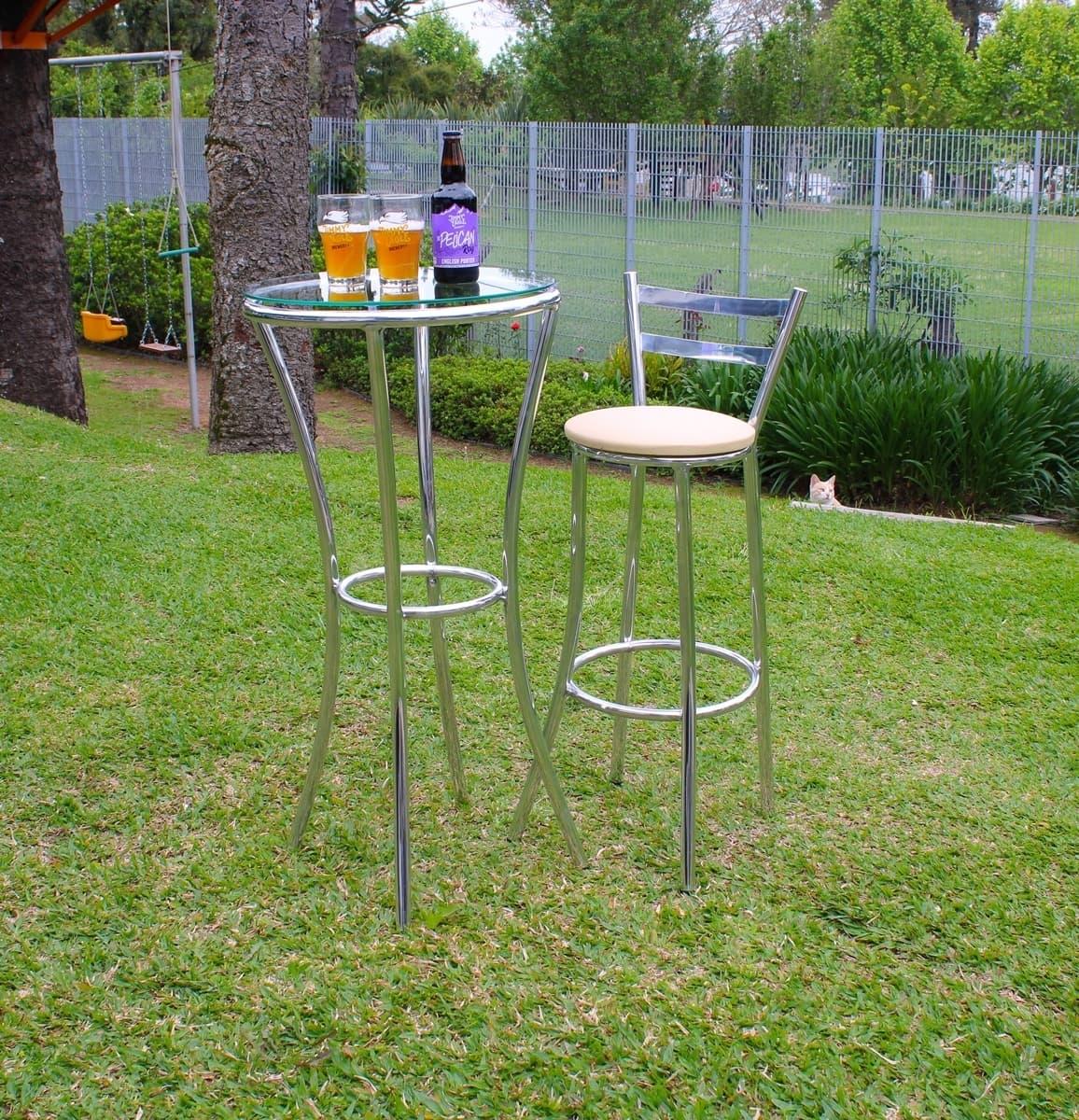 Kit Mesa de Bar + 04 Banquetas em Alumínio com Tampo de Vidro