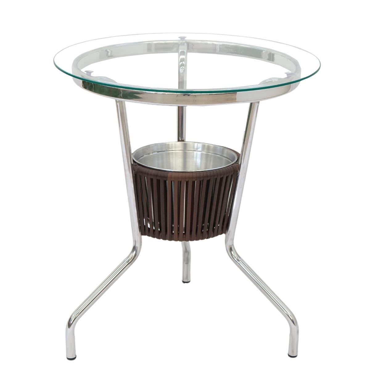 Mesa de Alumínio com Tampo em Vidro e Cooler - MBR100.C