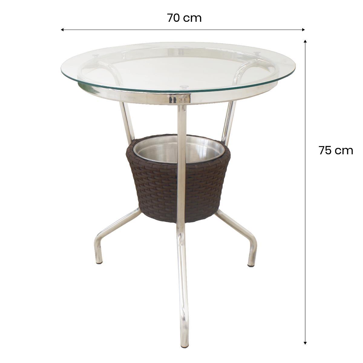 Mesa de Alumínio com Tampo em Vidro e Cooler - MBR101