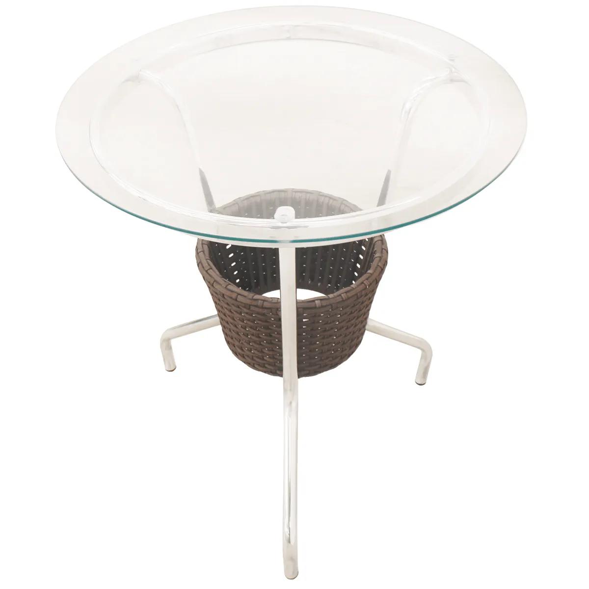Mesa de Alumínio com Tampo em Vidro e Cooler - MBR100