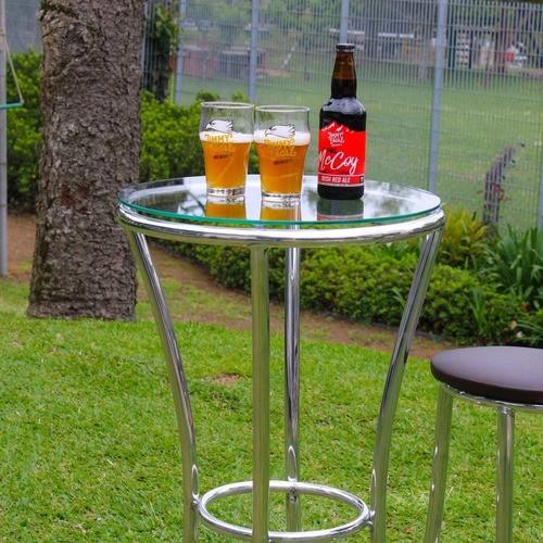 Mesa de Bar em Alumínio com Tampo de Vidro - MA71