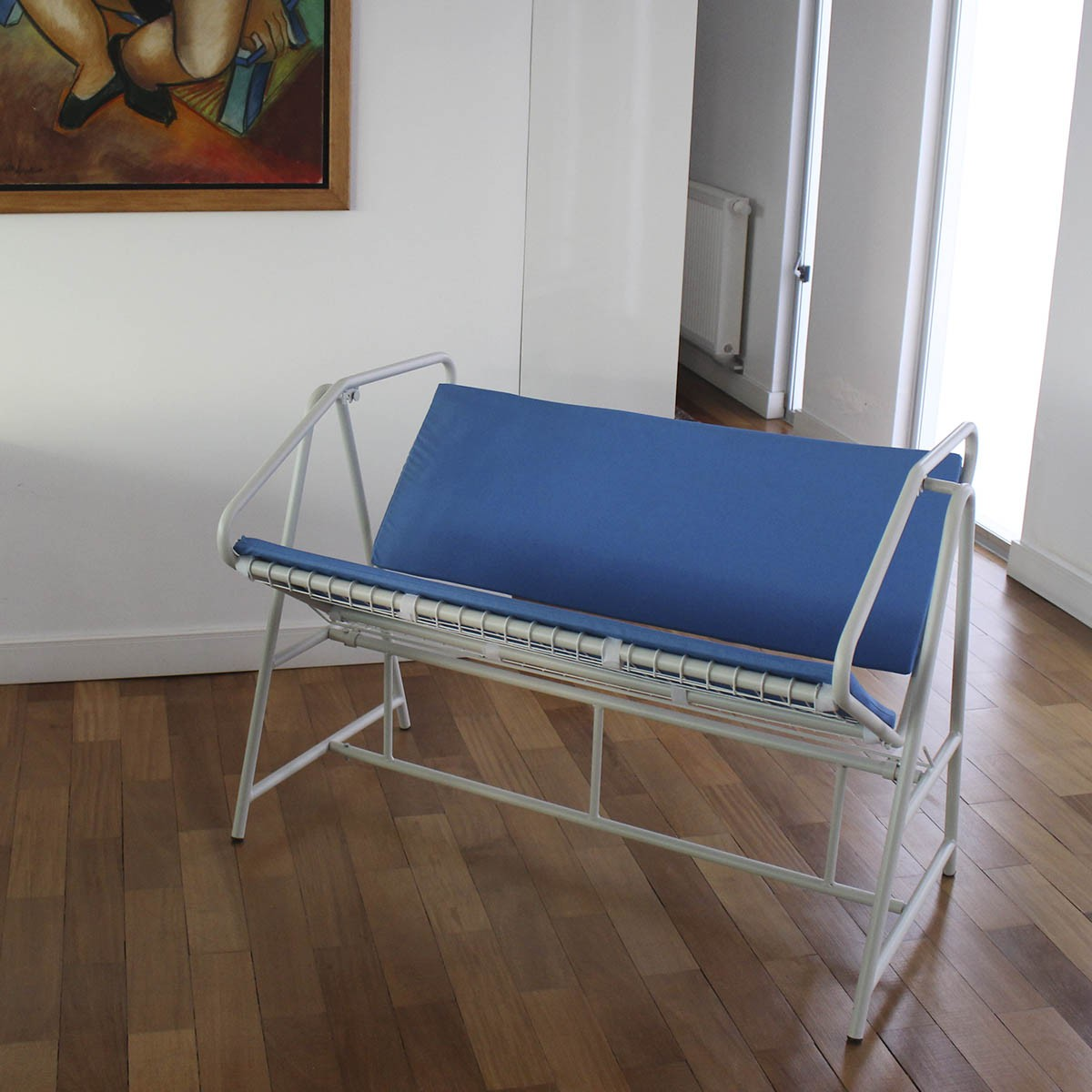 Namoradeira Estofada com Almofadas em Azul Marinho - NEP116