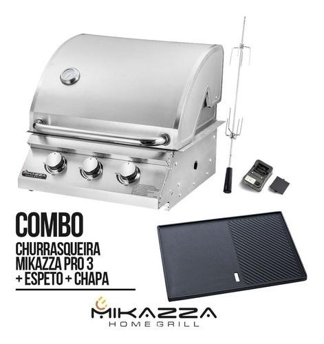 Churrasqueira à Gás Embutir Mikazza Pro 3 Combo + Chapa + Espeto
