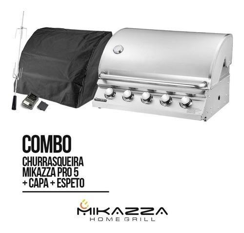 Churrasqueira à Gás Embutir Mikazza Pro 5 + Capa + Espeto