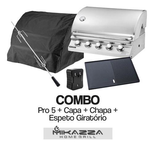 Churrasqueira à Gás Embutir Mikazza Pro 5 Combo Capa+Chapa+Espeto Giratório