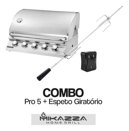 Churrasqueira à Gás Embutir Mikazza Pro 5 + Espeto Giratório