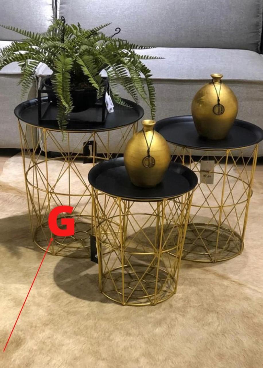 Mesinha Dourada Tracada com Tampo em Metal G