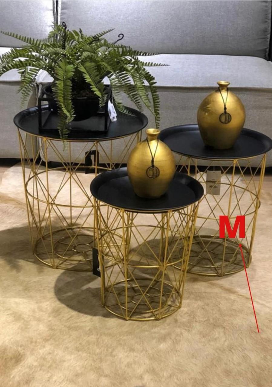 Mesinha Dourada Tracada com Tampo em Metal M