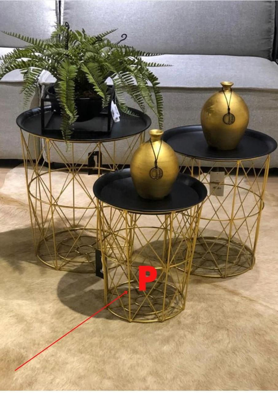 Mesinha Dourada Tracada com Tampo em Metal P