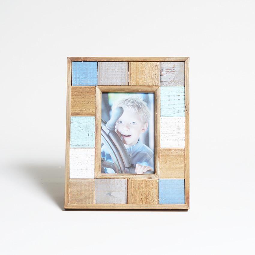 Porta Retrato 4x6 Mad. Demolicao Quadrados Coloridos