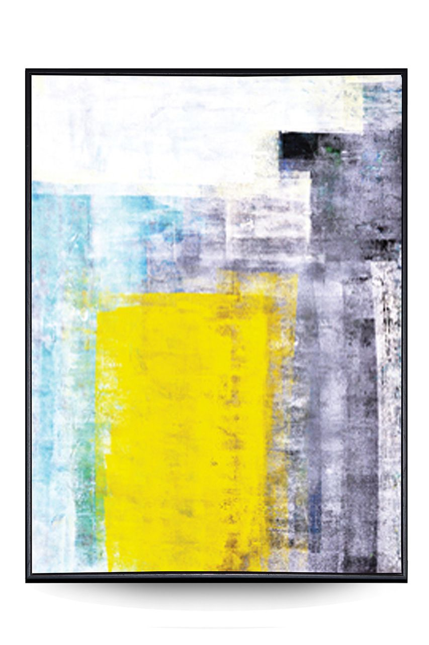 Quadro Decor Abstrato Minimalista Pátina Amarelo