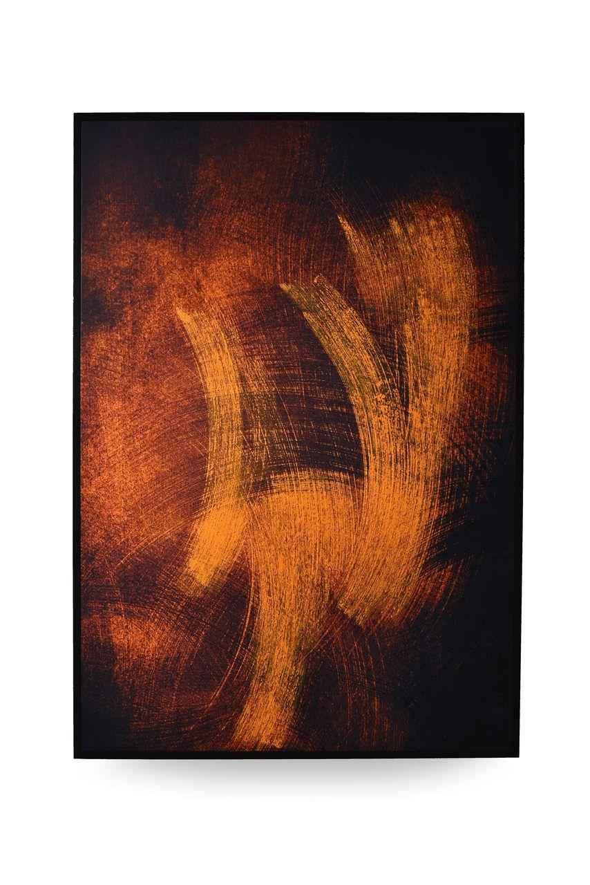 Quadro Decor Abstrato Chamas Douradas