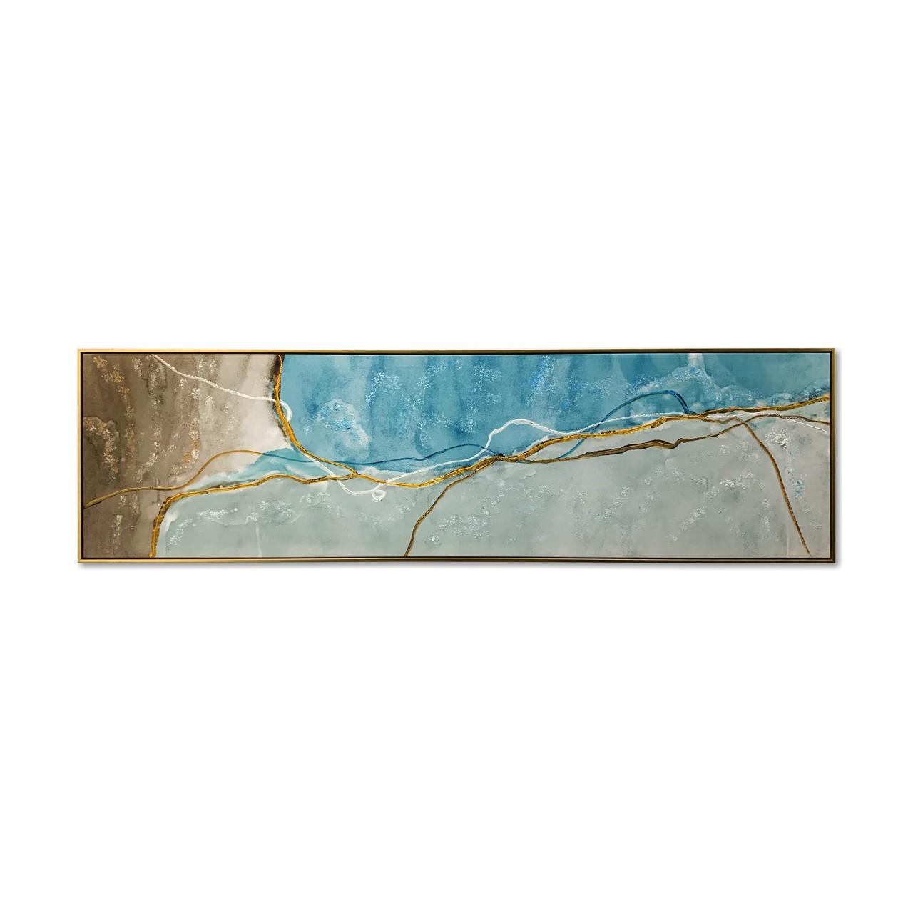 Quadro Decor Abstrato Veios dourados Sobre Azul
