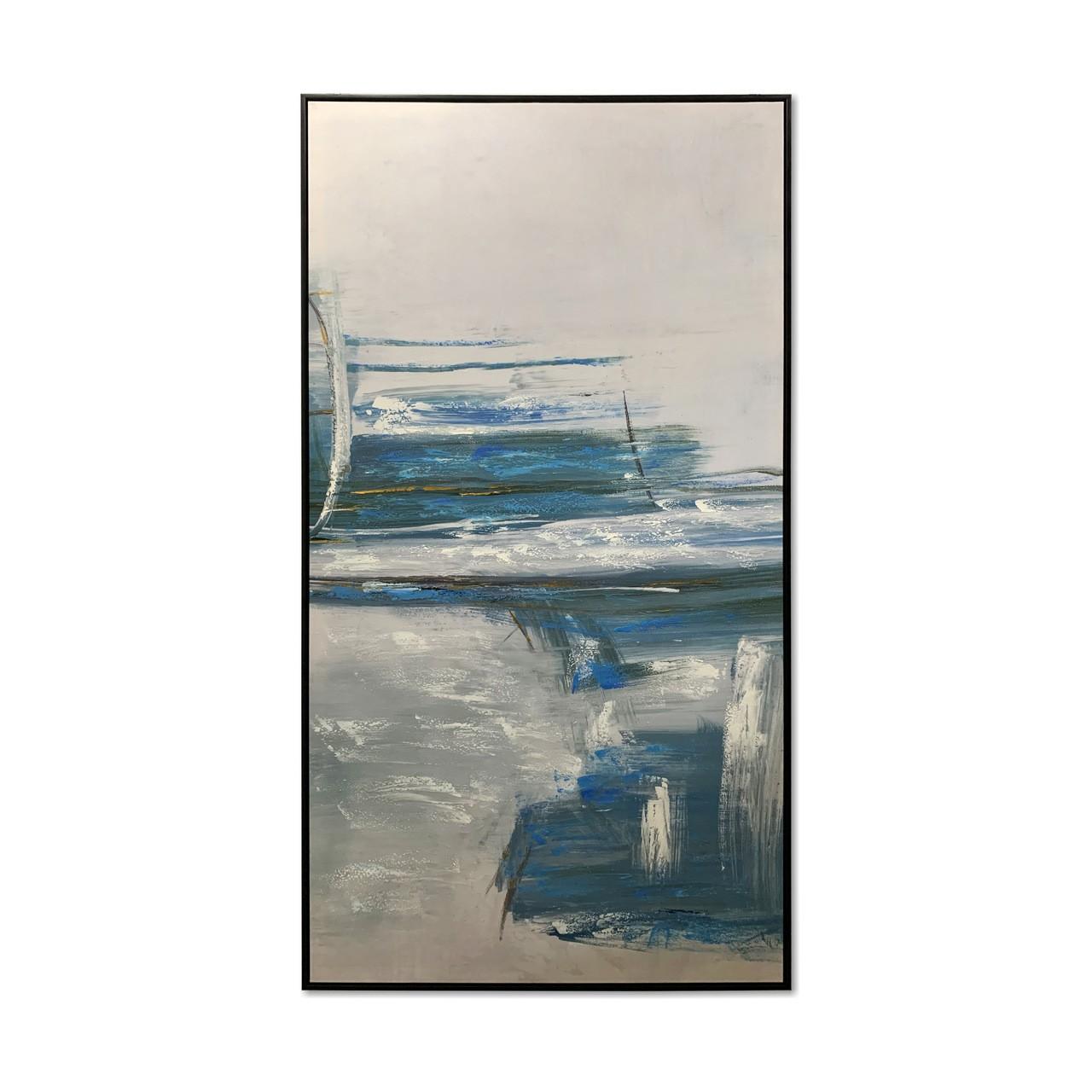 Quadro Decor Névoa Branca e Azul Abstrata