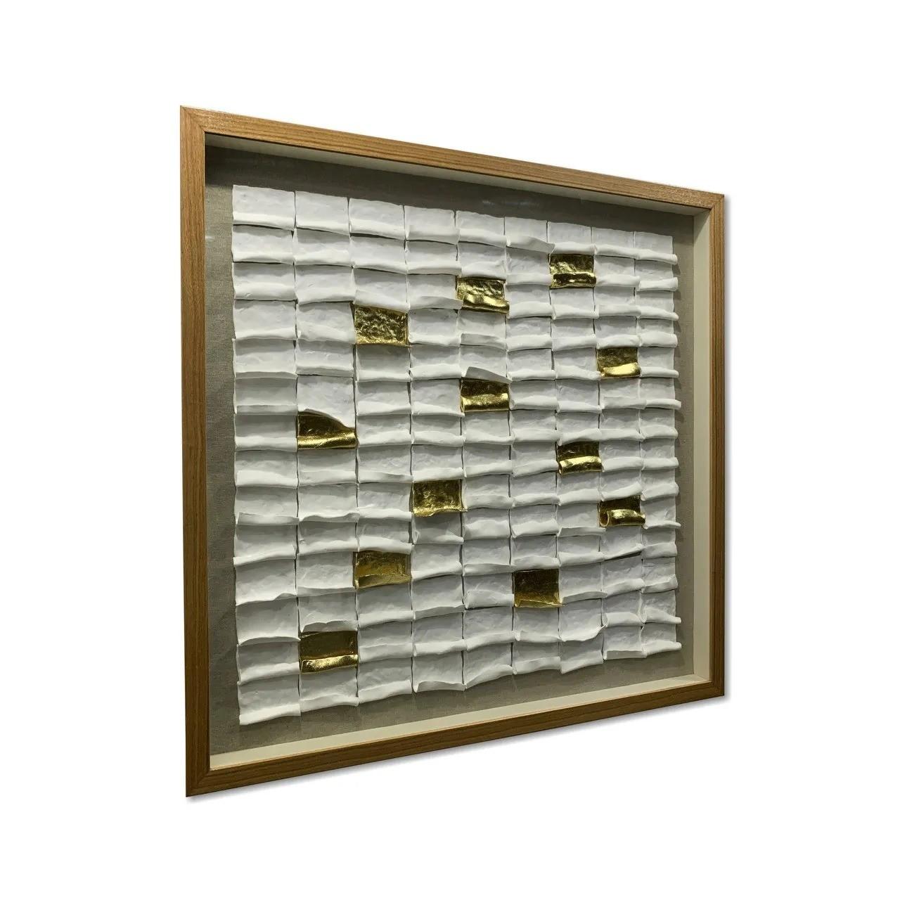 Quadro Decor Pétalas Douradas e Brancas 3D