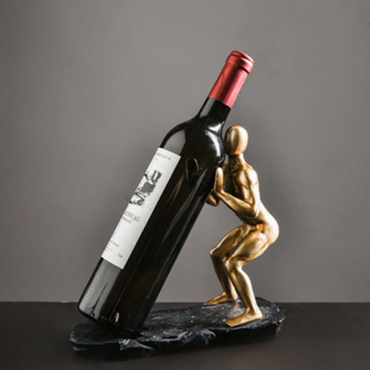 Suporte Para Vinho Humano Dourado B
