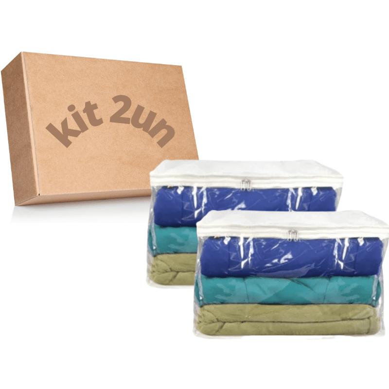 2 Protetor e Organizador Cobertores Edredons e Mantas G 60x50x28cm