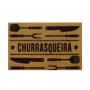 TAPETE CAPACHO PERSONALIZADO VINIL CHURRASQUEIRA COR CARAMELO 40X75CM