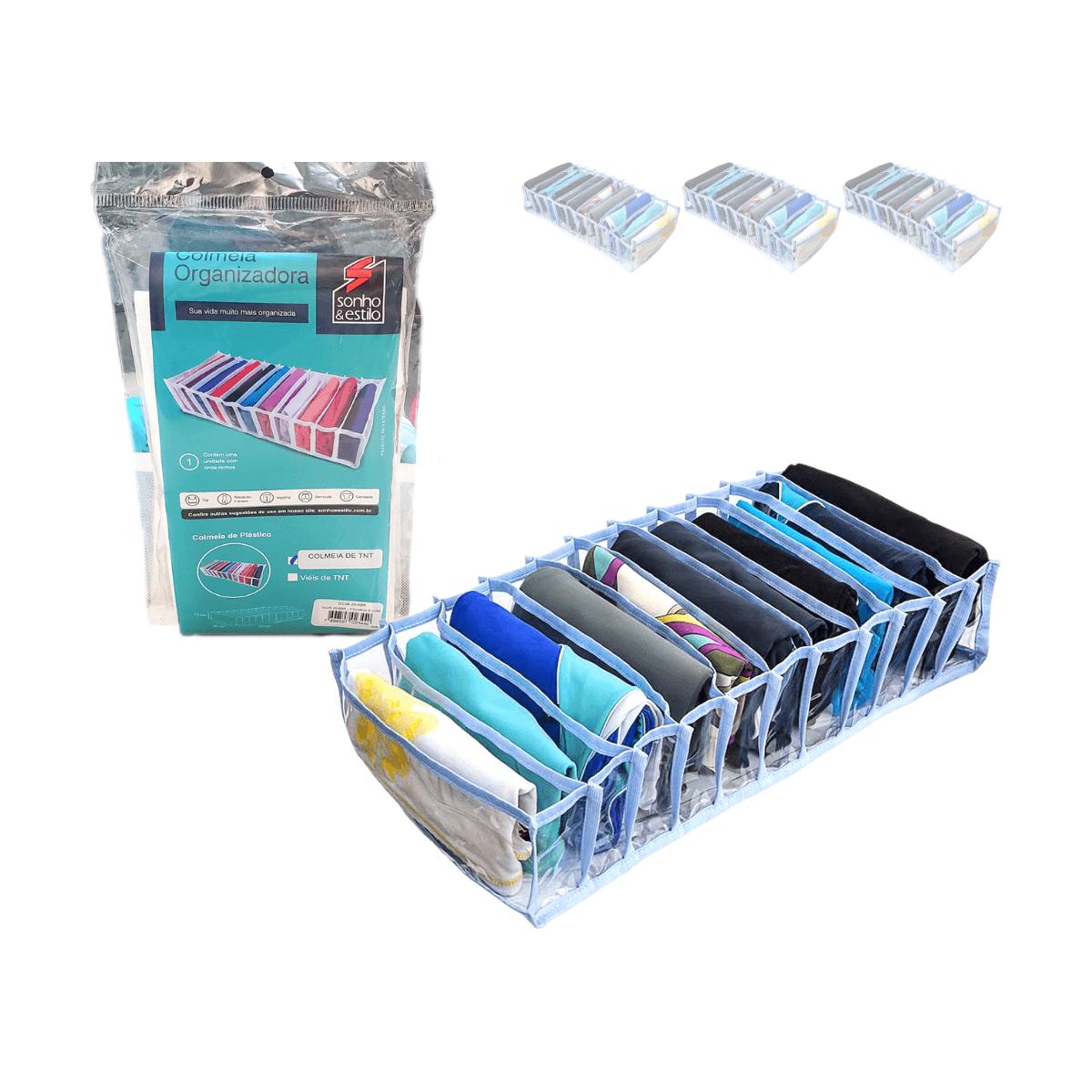 Colmeia Organizadora De Gaveta 11 Nichos Azul V.TNT 20x50x10cm Kit 3Un