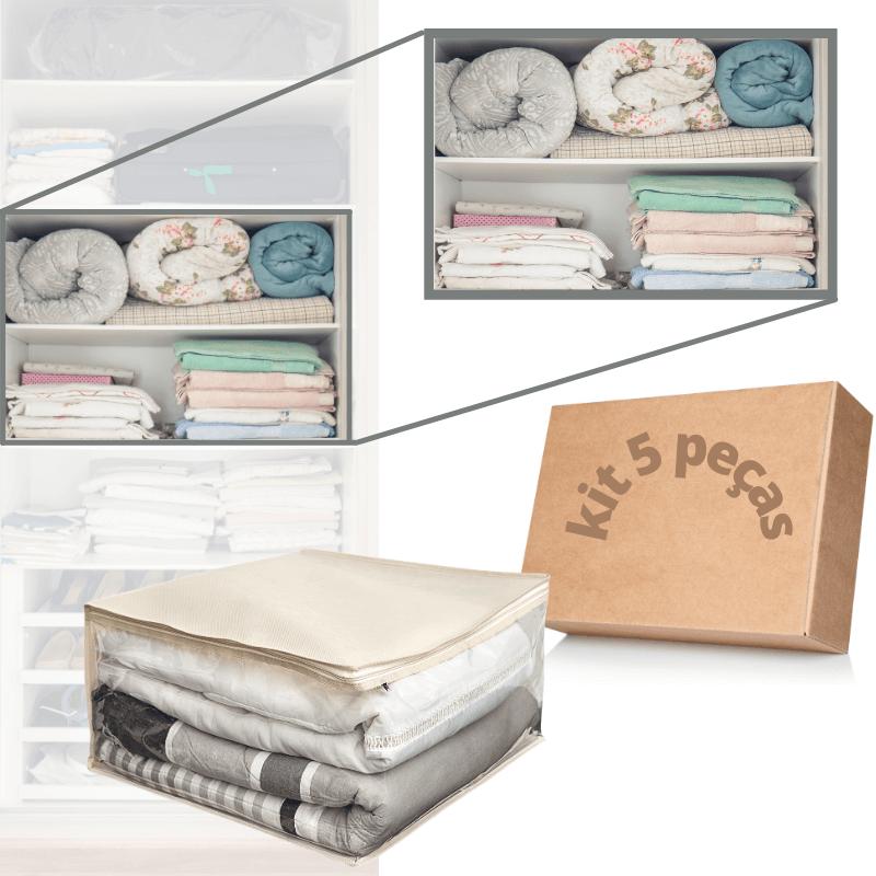 Kit 5 Organizador De Cobertor e Edredom Tam M 50x50x28cm Brc