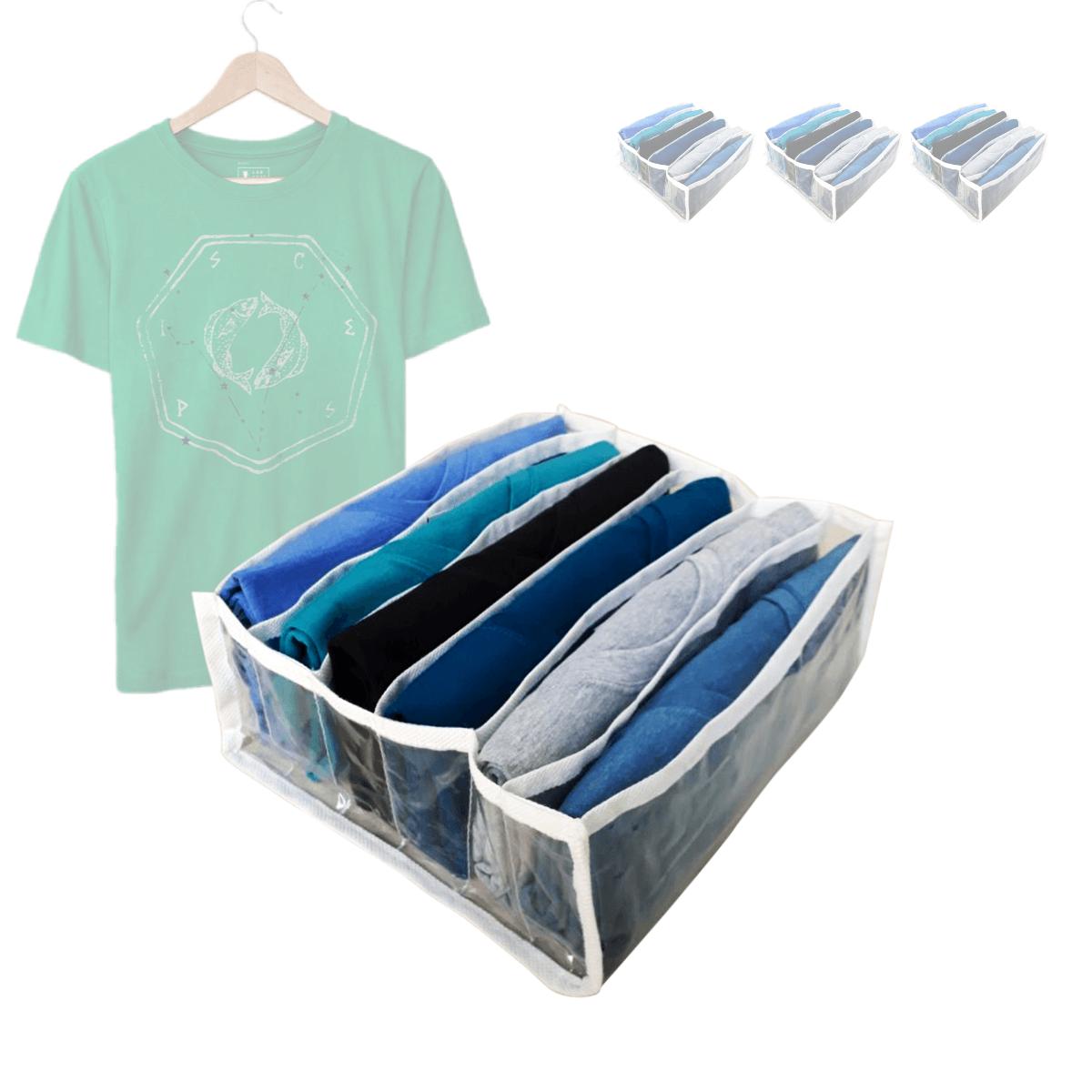 Kit Colmeia Organizadora De Camiseta N2 V.TNT 6 Nichos 32X25X10cm Branco 3Un