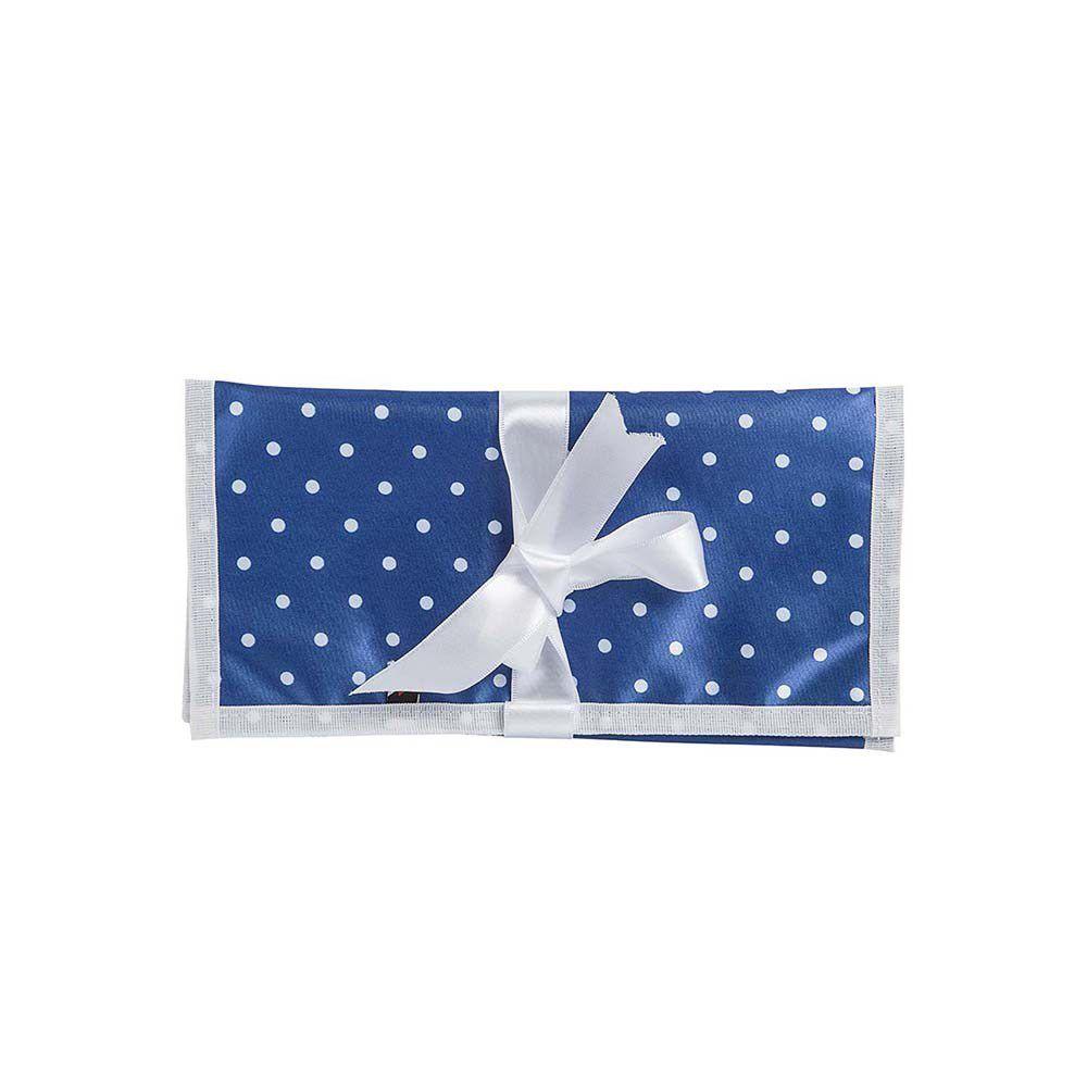 Necessaire Joinha Lúcia Azul Com Bolinhas Brancas 24x34cm
