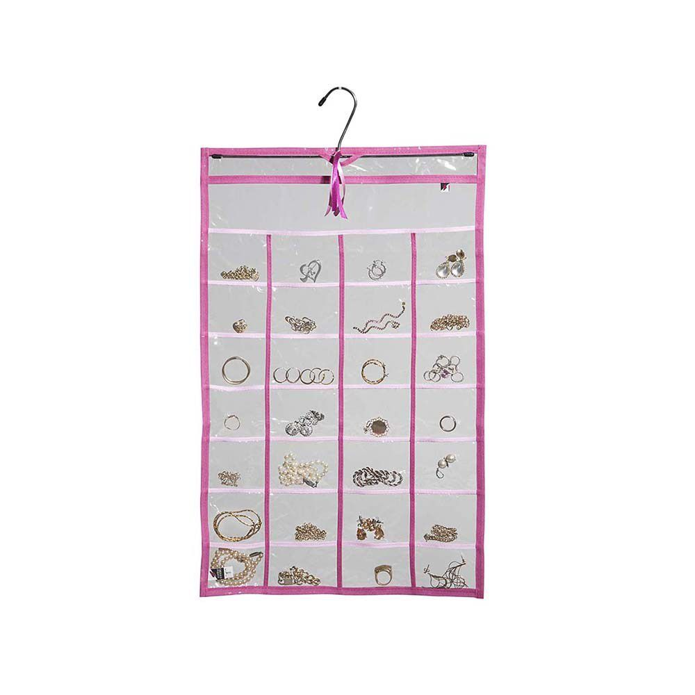 Cabide Organizador De Bijuteria Transparente e Rosa 36x60cm 28 nichos