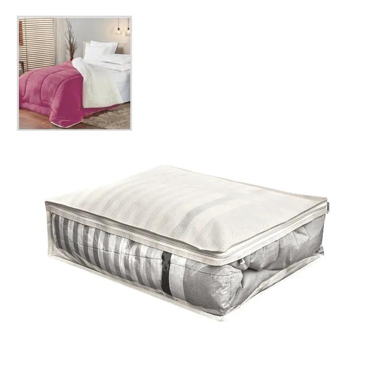 Organizador De Cobertor, Edredom Tamanho P 40x50x15cm Bege