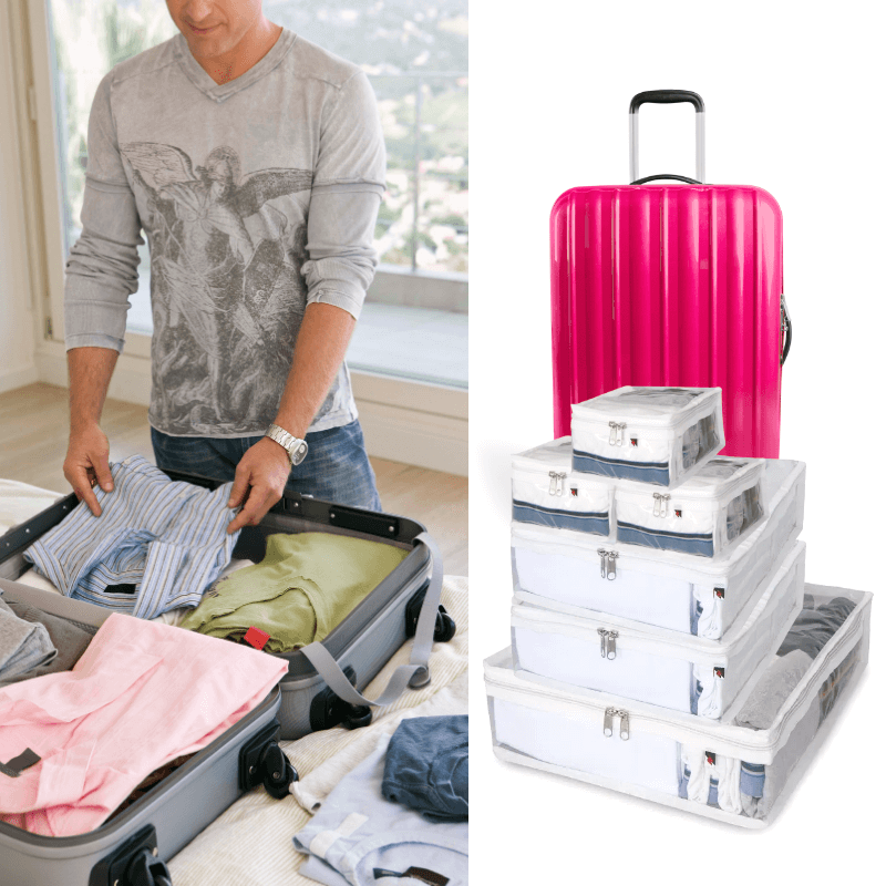 Organizador De Mala Para Viagem Kit Europa 6 Peças Necessaire Bolsa