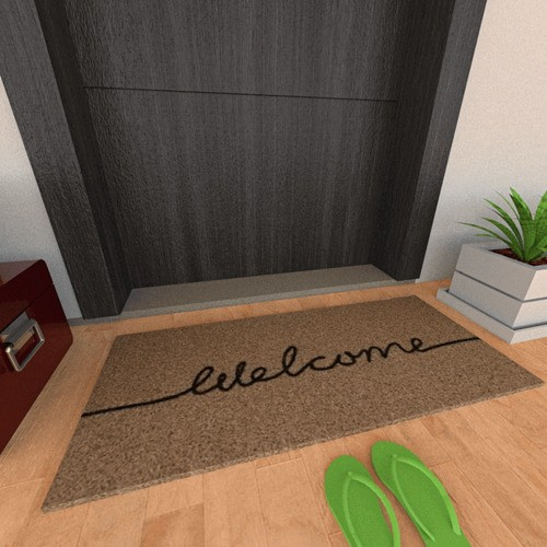 Tapete Capacho Personalizado Vinil Long Welcome Bege 30X70CM