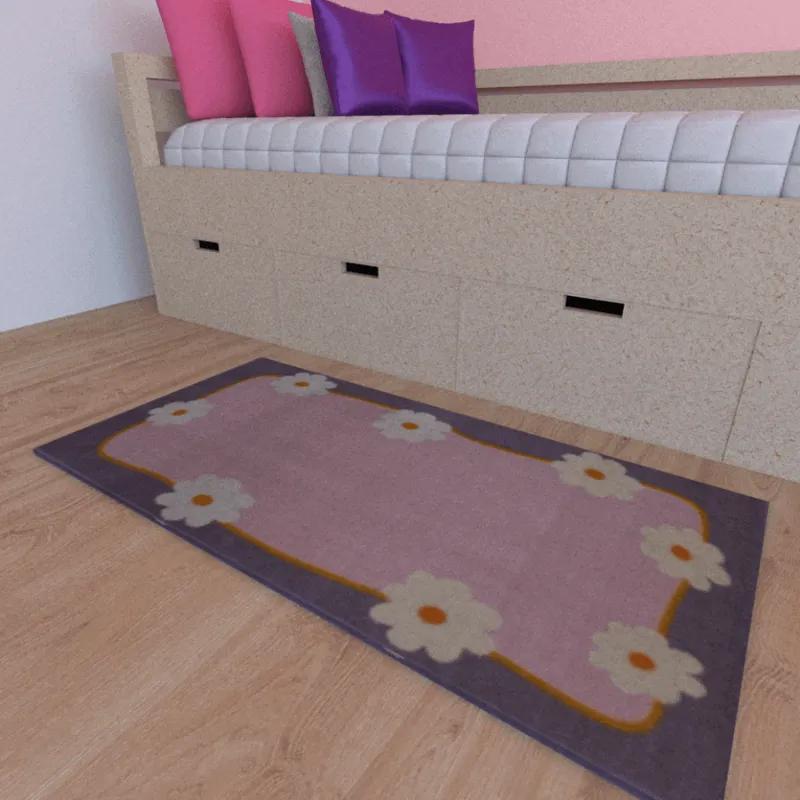 Tapete infantil Personalizado Cor Rosa Com Flores Brancas 50cmx1m