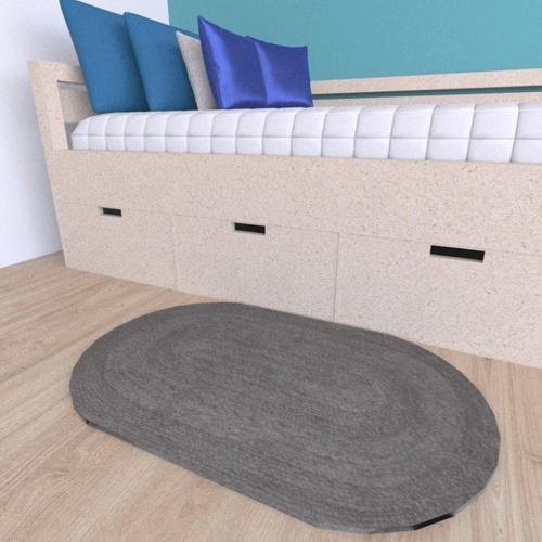 Tapete Oval Cinza Tecido Dupla Face 50cmx80cm