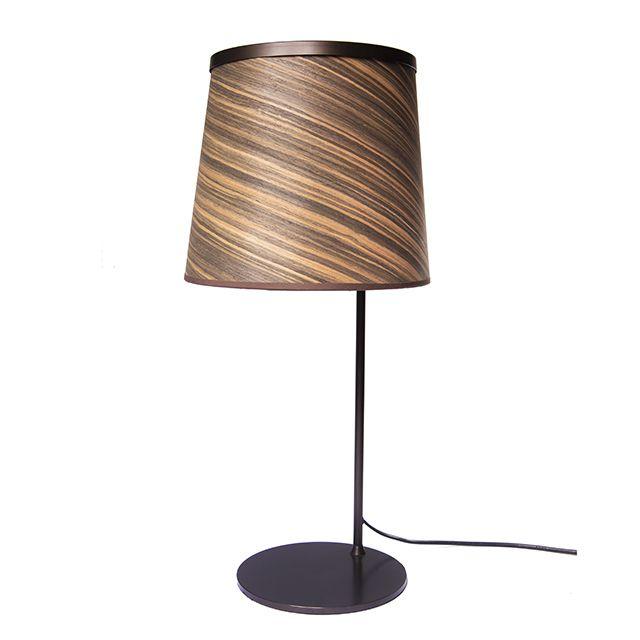Luminária | Abajur em Metal Preto e Cúpula em Laminado de Madeira Zebrano