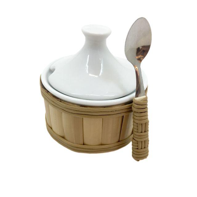 Açucareiro em Porcelana Branca e detalhes em Bambu Natural