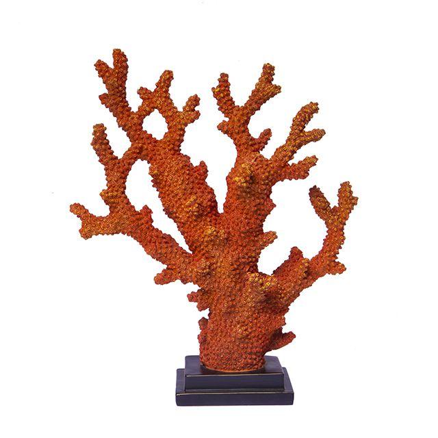 Escultura Decorativa na cor Coral em Resina em formato de Alga